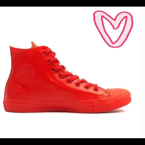 Converse Shoes | Red Leather High Tops
